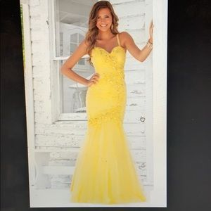 Yellow Fit and Flare Mermaid Pageant/Prom Dress